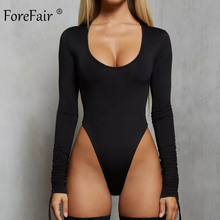 Forefair Sexy Bodysuit Long Sleeve Bodycon White Black Khaki Body Tops Ruched Lo