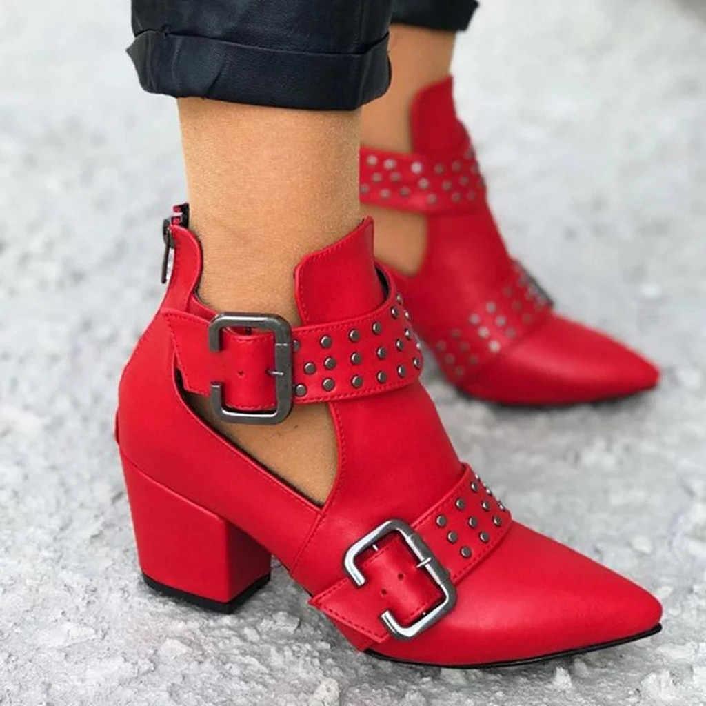 Mode bout pointu femmes bottes en cuir bota feminina bottines pour femmes automne bottes schoenen talon carré bottes femmes