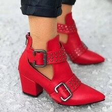 Botas Martin Vintage para mujer botas de tobillo huecas puntiagudas botas de goma zapatos de tacón cuadrado gótico punk botas rojas #0808