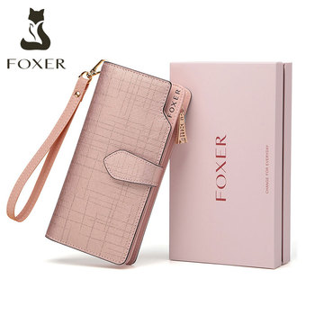 FOXER Valentine Day present Money Bag Large Capacity Ladies Card Holder Women Cow Leather Long Wallet Female Phone Luxury Purse vintage handmade natural cow leather women s large burgundy wallet card case retro long wallet phone holder ladies clutch purse