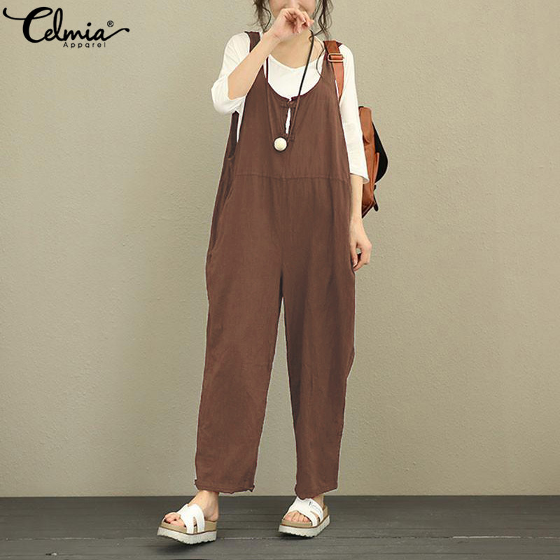 Celmia 2019 Women Linen Rompers Pants Vintage Jumpsuit Female Backless Retro Overalls Strapless Playsuit Women Pantalon Palazzo