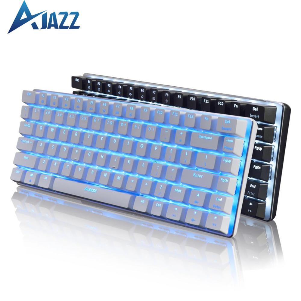 Ajazz AK33-Teclado mecánico para jugar teclado con cable de 82 teclas, negro/azul, para juegos de PC, diseño ergonómico y retroiluminado con LED