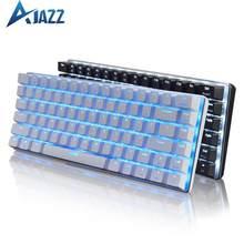 Ajazz ak33 teclado de jogo mecânico preto/azul interruptor 82 teclas com fio teclado para jogos de computador ergonômico legal led design retroiluminado
