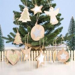 2pcs New Year 2020 Gift Natural Wooden Christmas Tree Pendants Christmas Ornaments Decorations for Home Adornos De Navidad 2019 2