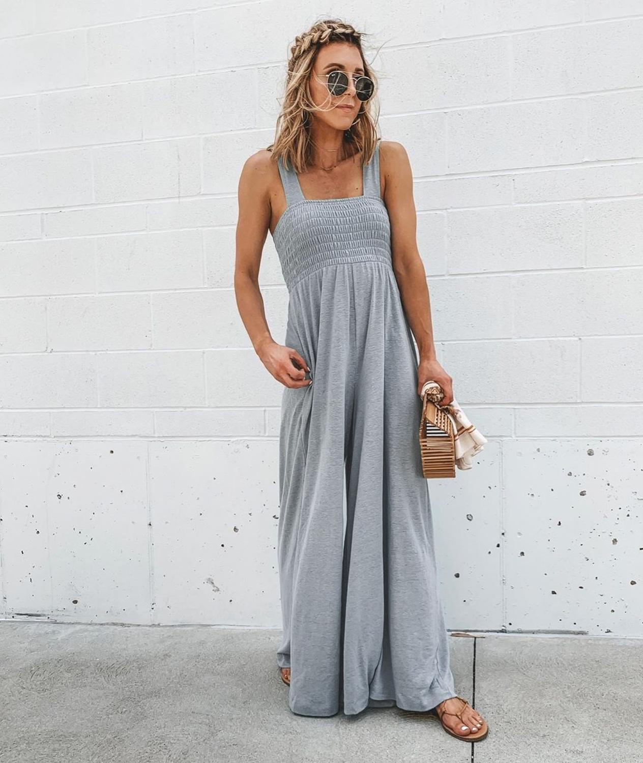 Casual Loose Women Summer Jumpsuit Camis Sexy Rompers Female Pleated Overalls Streetwear Bodysuit Women Sleeveless Jumpsuits