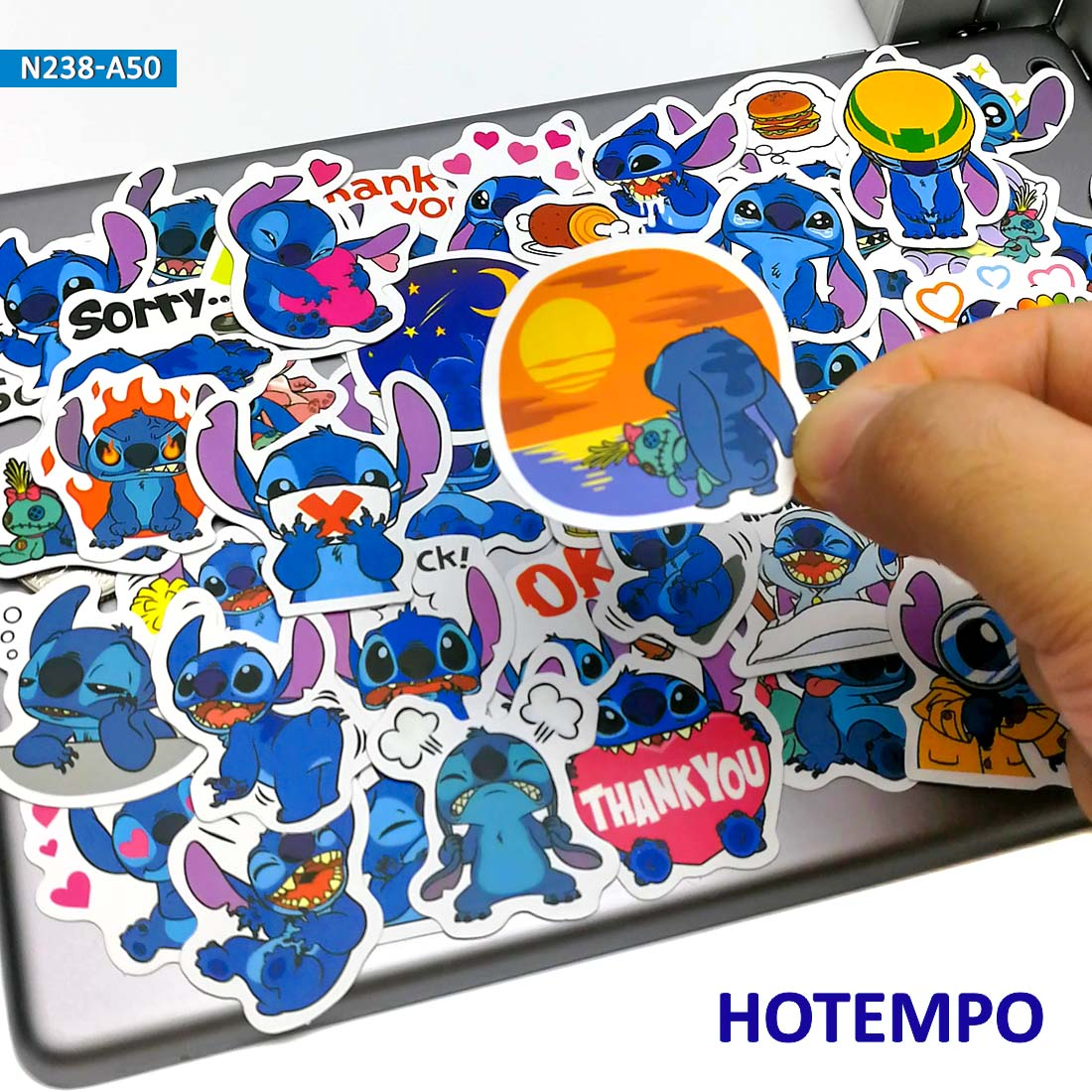 50pcs Cute Lilo Stitch Cartoon Stationery Anime Scrapbooking Stickers For Children Mobile Phone Laptop Guitar Skateboard Sticker
