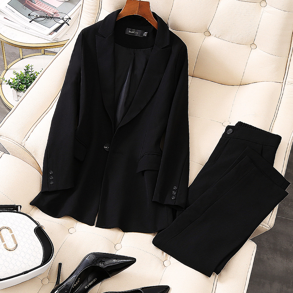 2019 New Office Work Blazer Suits High Quality OL Women Pants Suit Blazers Jackets With Trouser Two Pieces Set Plus Size 5XL