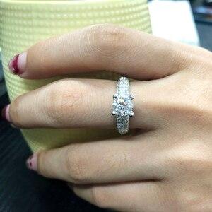 Image 4 - מוצק 18K זהב לבן AU750 3ct עגול לחתוך DF Moissanite אירוסין טבעות יום נישואים טבעת Moissanite טבעת לנשים