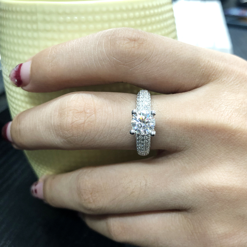 Image 4 - Solid 18K White Gold AU750 3ct  Round Cut DF Moissanite Engagement Rings Anniversary Ring Moissanite Ring For Women-in Rings from Jewelry & Accessories