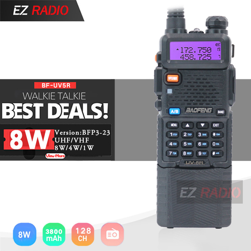 Upgrade 8W Baofeng UV-5R With 3800mAh Walkie Talkie 10 KM Tri Power Dual Band Baofeng UV5R Ham Radio 10 KM UHF VHF Ham Two Way