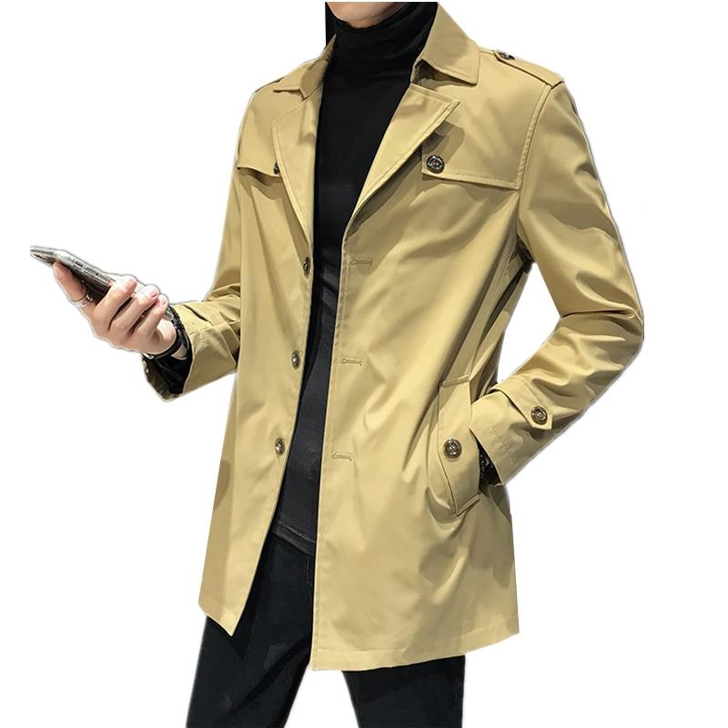 Autumn khaki men's long coat size S 3XL, fashion business casual long jacket men black navy blue Trench jackets