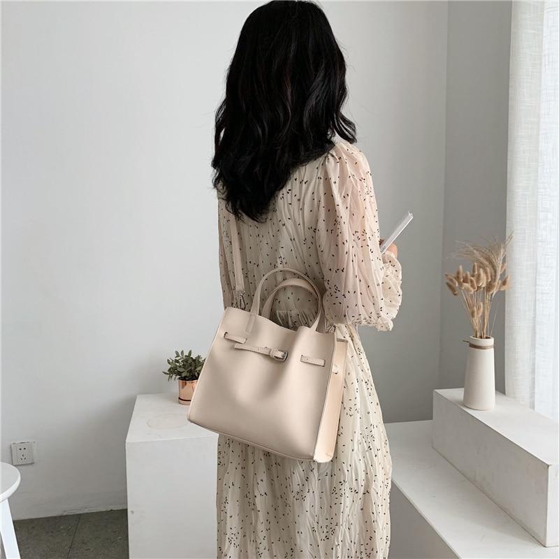 Image 3 - 2019 Big Women Handbag PU Leather Women Shoulder Bags Designer Women Messenger Bags 2pcs Ladies Casual Tote Bags Sac A Main-in Shoulder Bags from Luggage & Bags