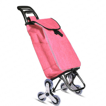 Climbing Shopping Cart Portable Folding Luggage Trolley with Stainless Steel Wear-resistant PU Wheel