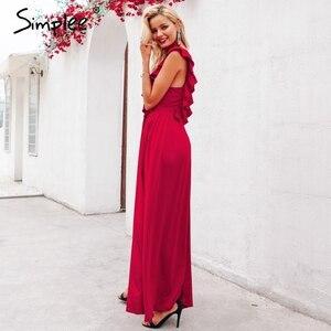 Image 3 - Simplee סקסי קפלים אדום ארוך נשים שמלת ראפלס O צוואר פיצול מקסי קיץ שמלת 2019 אלגנטי נשי מועדון vestidos דה פיאסטה