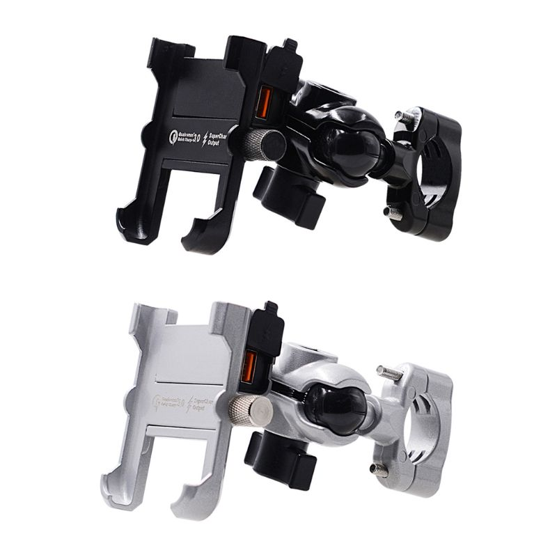 Waterproof Metal Motorcycle Smart Phone Mount with QC 3.0 USB Quick Charger Motorbike Mirror Handlebar Stand Holder for SamsungPhone Holders & Stands   -