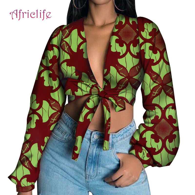 WY6457 Short Top Sexy Gril Shirt Long Sleeve The Bow Can Be Tied By You African Wax Print Cotton Women Sexy Lady Clothing