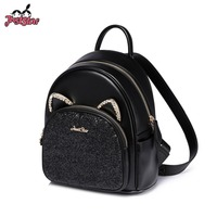 JUST STAR Women's PU Leather Backpack Female Fashion Cat Ear Diamond Double Shoulder Bags Ladies Travel Rucksack