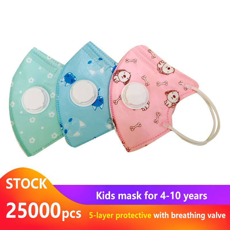 5PCS Cartoon Printed Children's Mask 5-Ply Child Protection Droplet Virus Bacteria Anti Haze Powerful FIlter Respiratory Valve