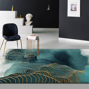 Abstract Green Golden Strip Carpet For Floor Chinese Painting Pattern Anti-slip Carpet Bathroom Fashion 3D Rug Mat Entrance Door(China)