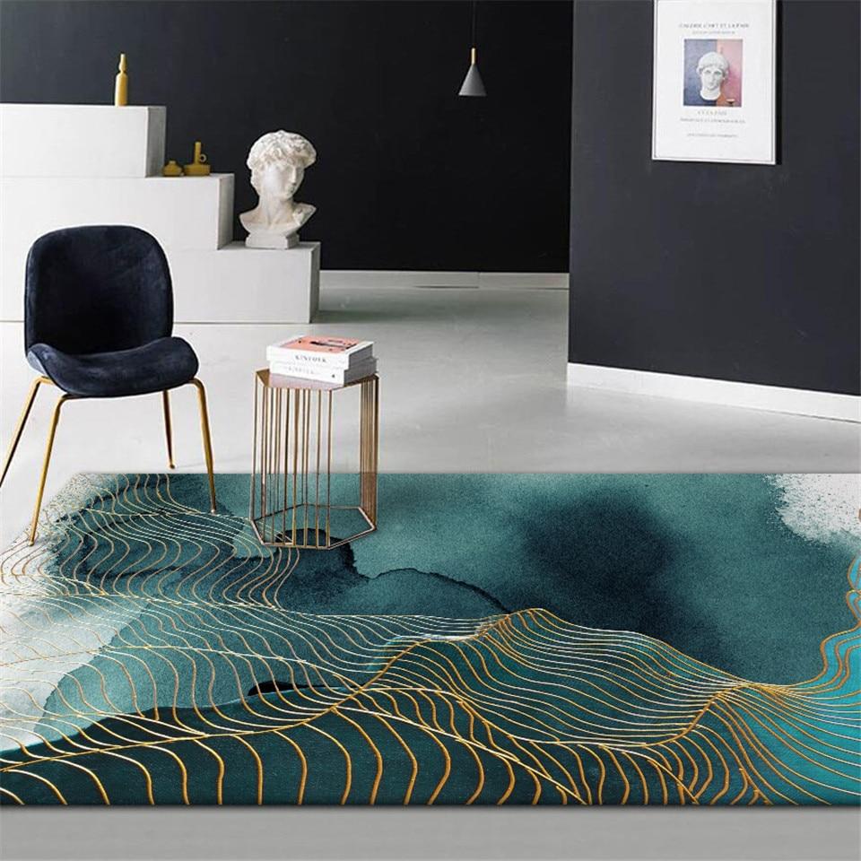 Ev ve Bahçe'ten Halı'de Soyut yeşil altın şerit zemin halısı çin resim sanatı desen Anti kayma halı banyo moda 3D halı Mat giriş kapısı title=