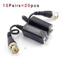 10 çift UTP Video Balun Twisted CCTV Balun pasif vericiler için HD CVI/TVI/AHD kamera için erkek BNC UTP kamera aksesuarları G16