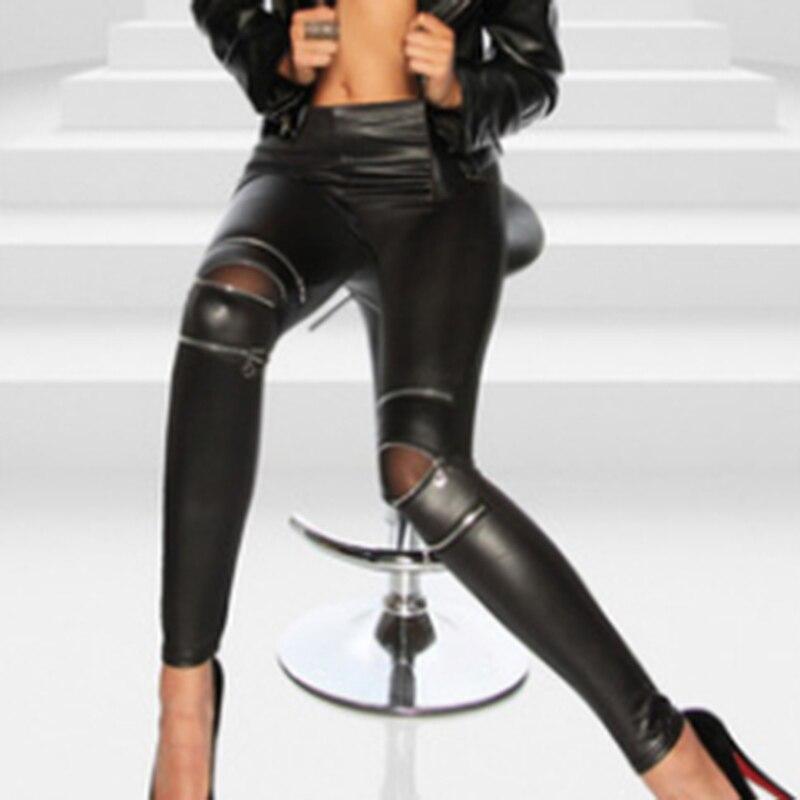 Высокая эластичность молнии из искусственной кожи Леггинсы черные узкие длинные брюки женские Легинсы на молнии черные