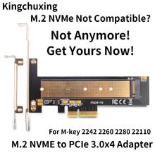 Adaptador de disco duro de estado sólido M.2 NVMe M2 SSD a PCIe 3,4*4, tarjeta de expansión vertical 2242 2260 2280 22110 de velocidad completa 32Gbps