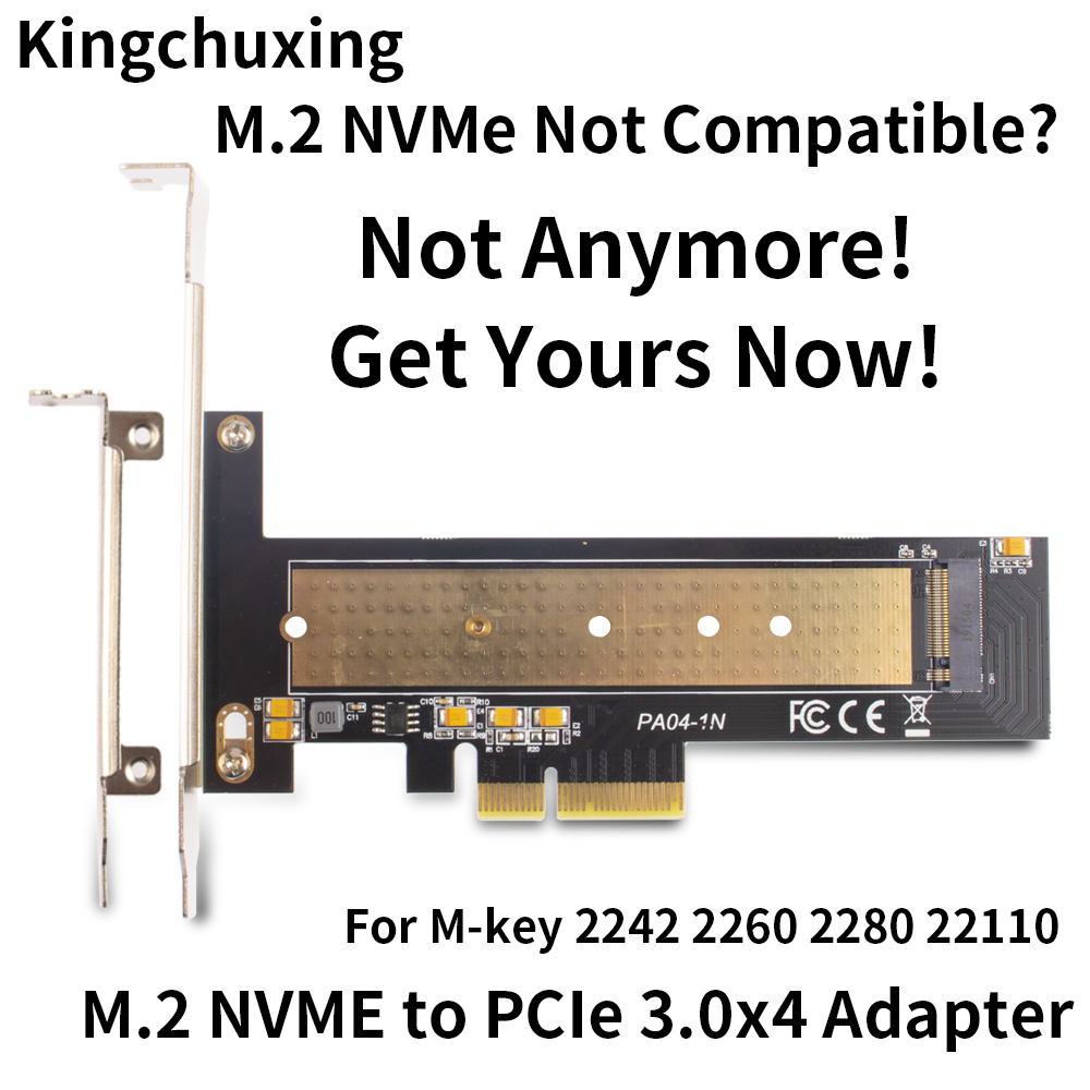 M.2 NVMe SSD to PCIe 3.4*4 Solid State Drive Adapter Riser Expansion Card 2242 2260 2280 22110 Full Speed 32Gbps