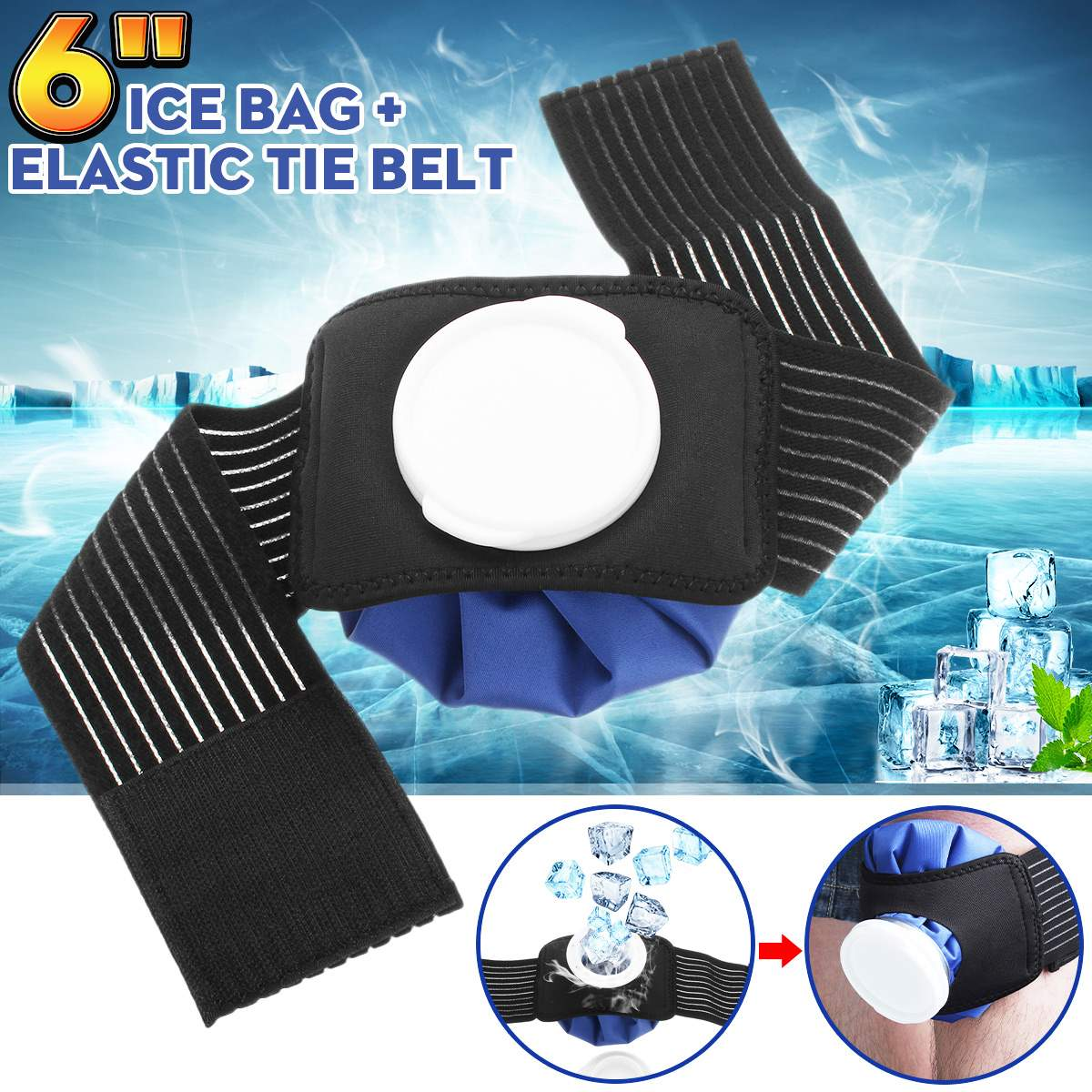 6 Inch Pain Relief Hot Cold Therapy Reusable Ice Bag Pack Wrap For Knee Shoulder Back Waist Outdoor Sport First Aid