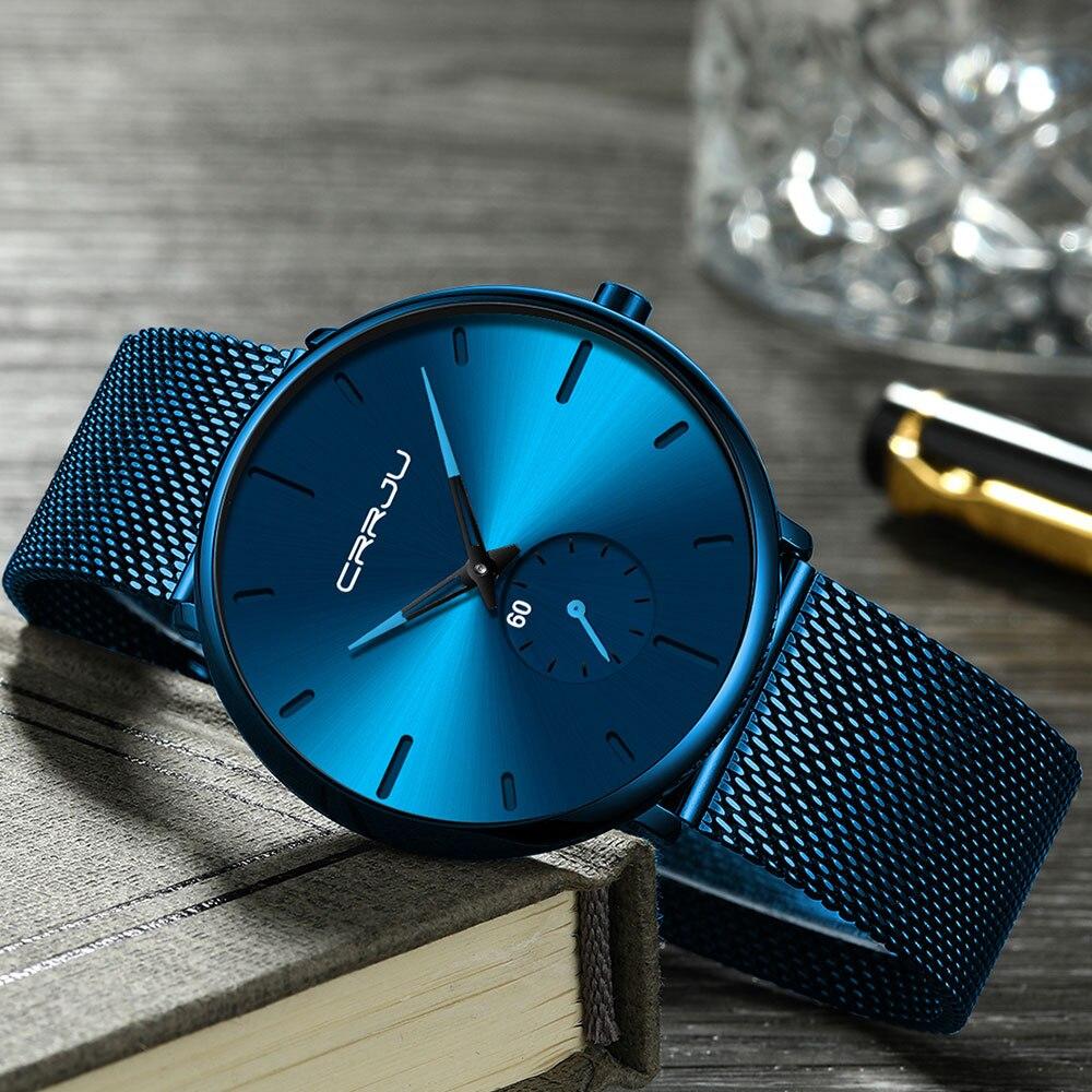 H77691279f0ce473194422e8026a9d9057 CRRJU Ultra Thin Blue Stainless steel Quartz Watches Men Simple Fashion Business Japan Wristwatch Clock Male Relogio Masculino