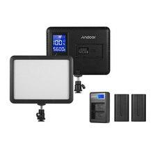 Andoer WY 160C LED Video işığı ile NP F550 pil dolgu lamba 3300 K 5600 K w/lcd ekran + pil & çift kanallı pil şarj cihazı