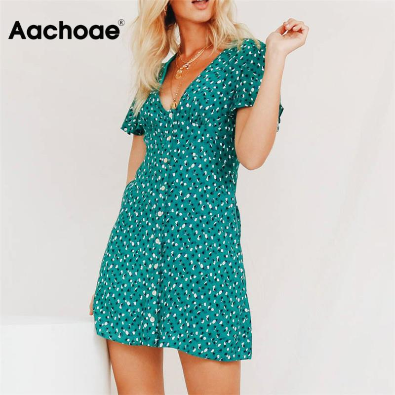 Aachoae Women Dress Summer 2020 Sexy Bohemian Floral Print Party Dress Deep V Neck Mini Beach Dress Sundress Vestidos De Verano