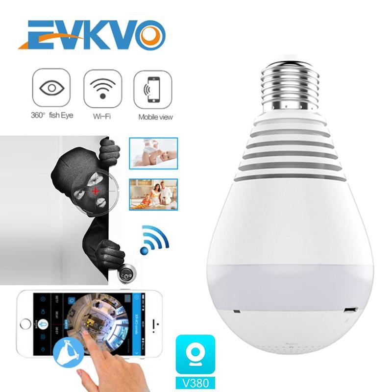 1080P 360° Security Wifi Camera Lamp Panoramic Bulb IP CCTV Video Surveillance Fisheye HD Night Vision Audio IP Camera Wireless