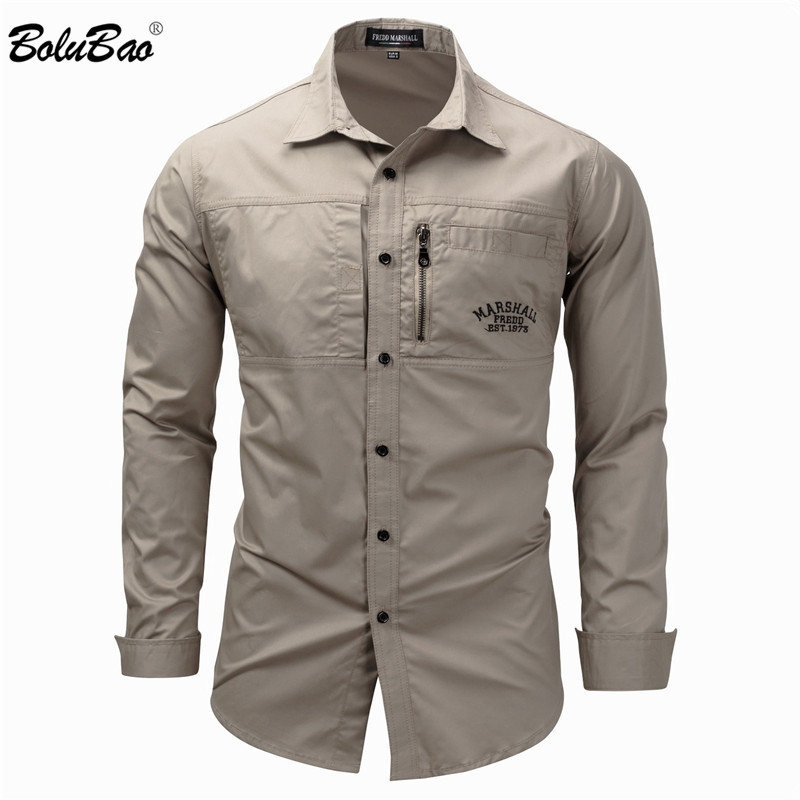 BOLUBAO Casual Brand Men Long Sleeve Shirts Men's Fashion Wild Solid Color Shirt Military Style Outdoor Casual Shirt Male