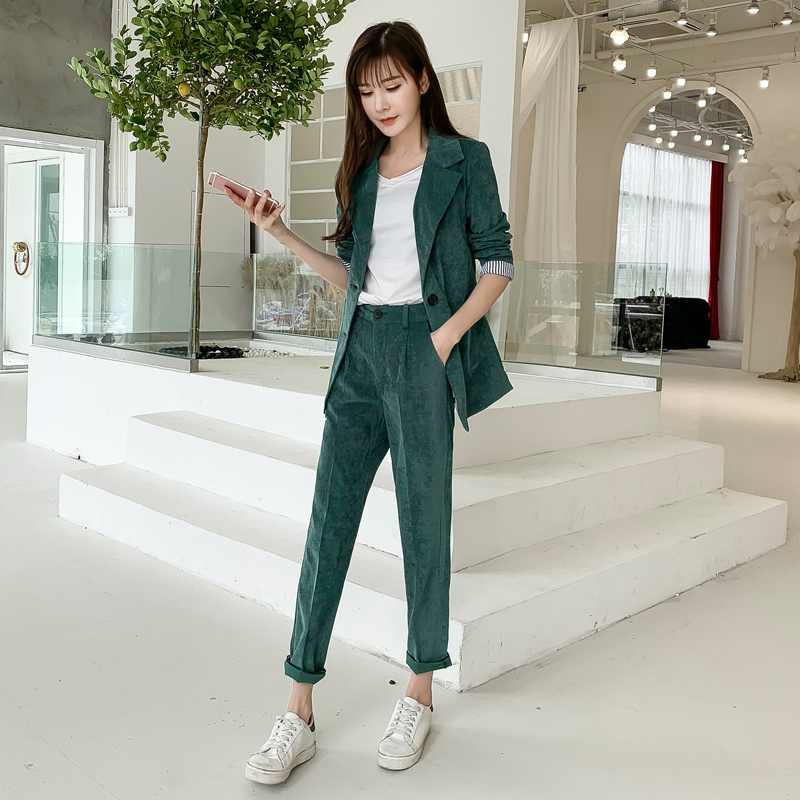 Autumn Winter Blazer Pants Suit Women Korean Chic Fashion Office Ladies Green Corduroy Casual High Waist Small Feet Pants Suit 43