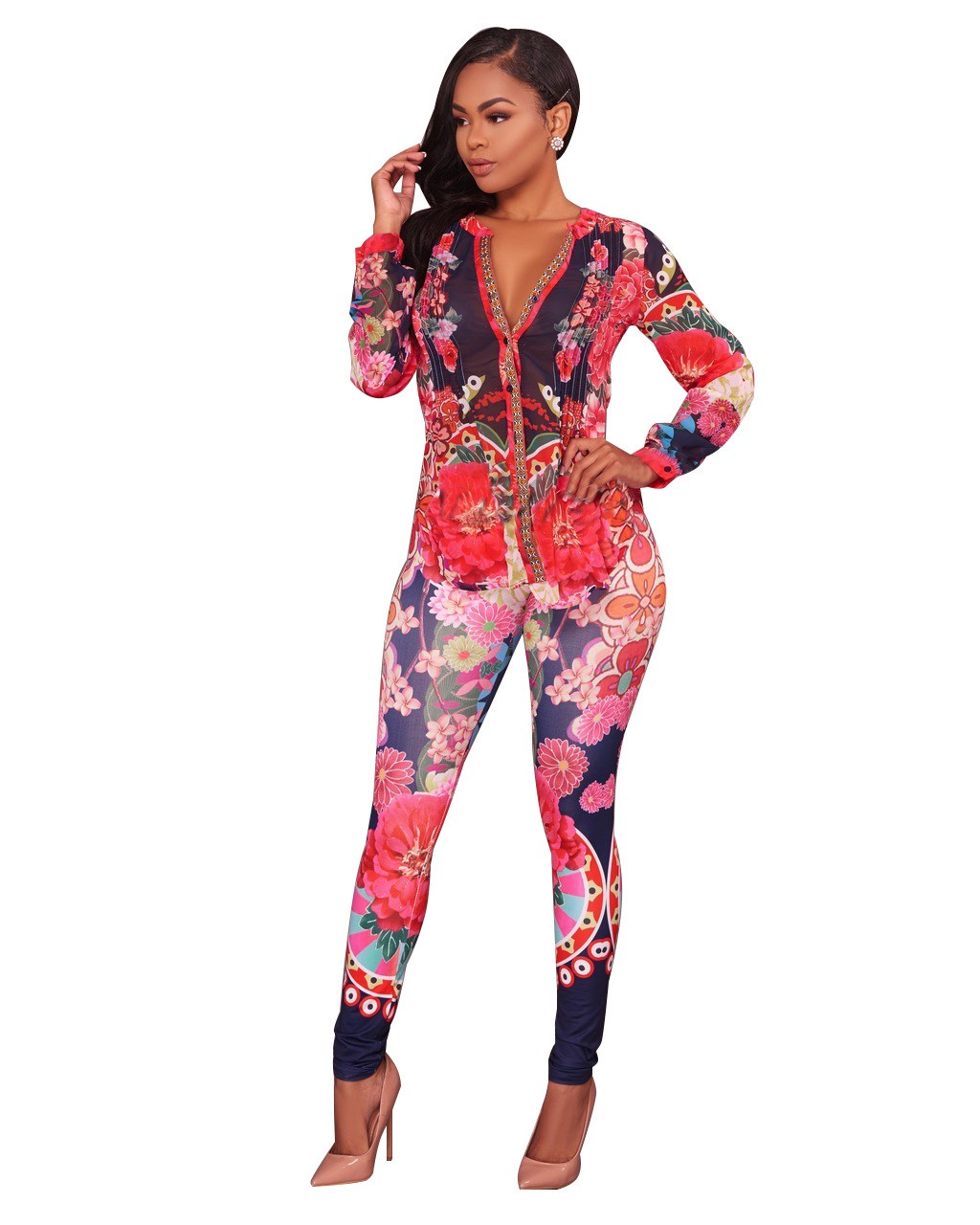 Spring Women 2 Piece Set Floral Printed Long Sleeve Shirt   Skinny Long Pants Women Casual Night Club Set