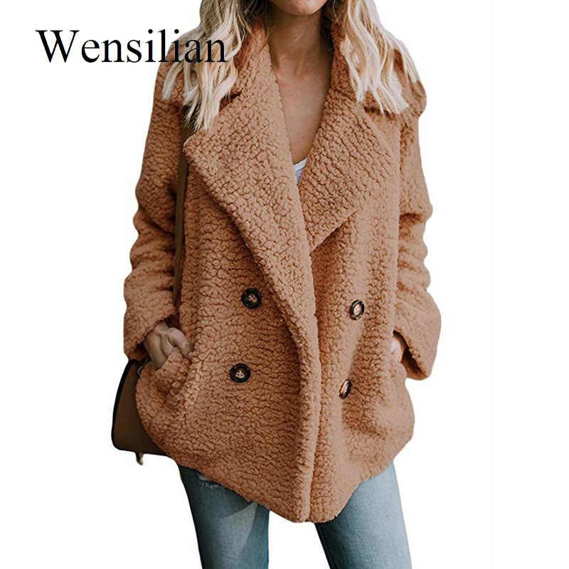 Flauschigen Teddy Mantel Frauen Winter Jacken 5XL Plus Größe Mantel Revers Warme Haarigen Jacken Weibliche Mäntel Langarm Chaqueta Mujer