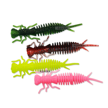 10pcs/lot Larva Soft Lures 76mm Artificial Fishing Worm Silicone Minnow  Lifelike Swimbait Jigging Baits