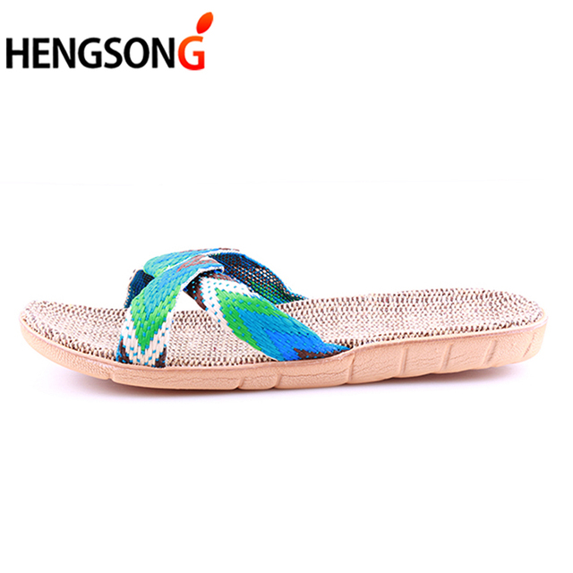 Summer Cross Belt Slippers Women Chain Slides Home Floor Shoes Flax Cross Belt Silent Sweat Slippers Female Sandals 3