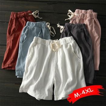 Summer Shorts Women Cotton Linen Shorts Trousers Feminino Women's Elastic Wasit Home Loose Casual Shorts Plus Size With Pocket цена 2017