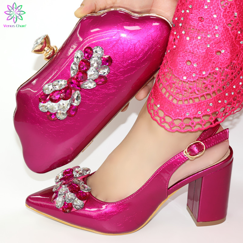 New Italian Matching Shoe and Bag Set Rose Pink Color Heels Decorated with Rhinestone Women Pumps African Wedding Shoes and Bags