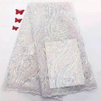 2019 african high quality sequins french tulle lace fabric glitter mesh for party evening dress free shipping A2047
