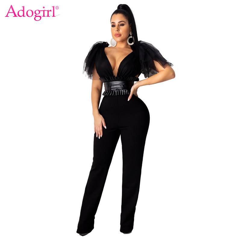 Adogirl Sheer Mesh Bow Fashion Jumpsuit With PU Leather Waistcoat Sexy V Neck Sleeveless Romper Wide Leg Pants Women Overalls