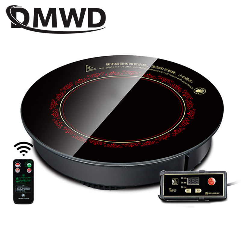 DMWD Round Electric Magnetic Induction Cooker Embedded Wire Control Burner Wireless Remote Control Hot Pot Cooktop Hotpot Stove