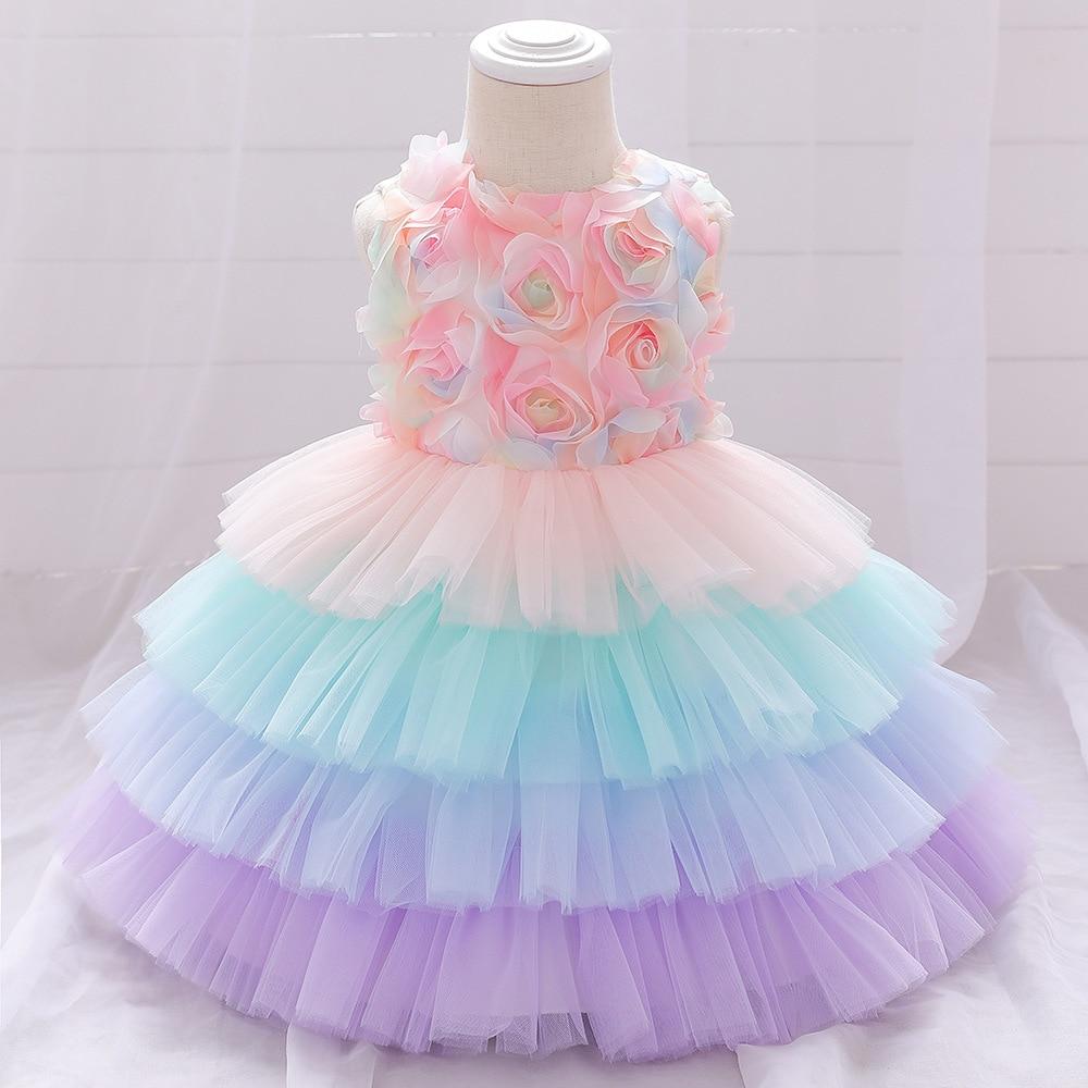 Tęczowa sukienka niemowlęca letnia warstwowa noworodek dziewczynki sukienki księżniczki na przyjęcie dla dziecka 1 rok sukienka urodzinowa 6M-3 lata