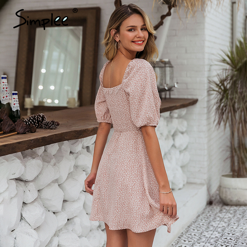Simplee Elegant square collar summer chiffon dresses Casual beach women vintage ruffles boho dress robe femme dresses vestidos 4