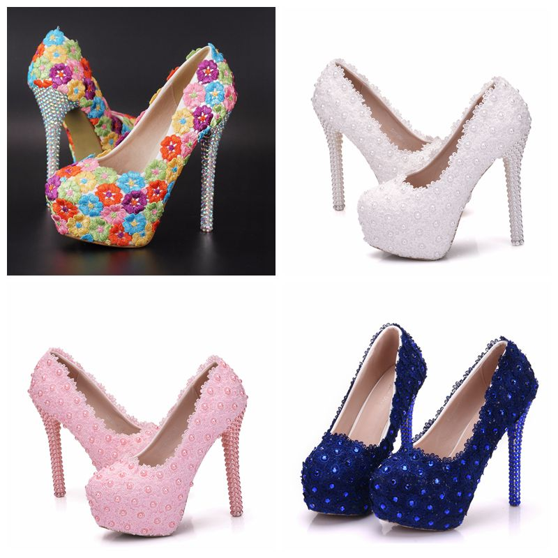 Crystal Queen Flower Lace Wedding Shoes Lace-Up High Shoes High Heels Platform Shoes Woman Party Dress Shoes White Pink Blue