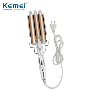 KEMEI Professional Curling Iron Ceramic Triple Barrel Hair Styler Hair Waver Styling Tools 110-220V Hair Curler Electric Curling