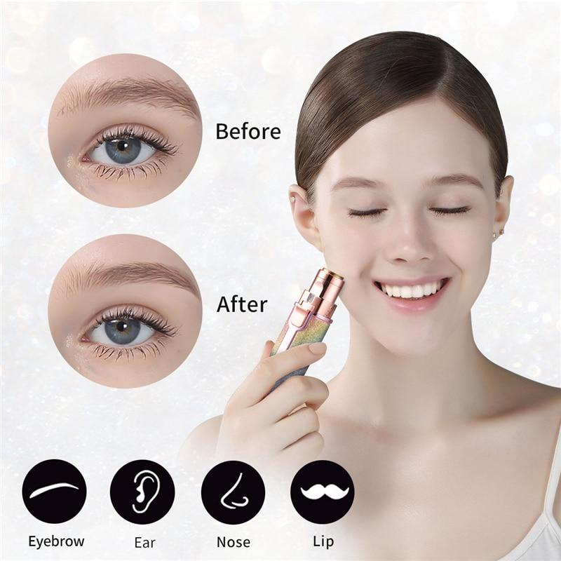 2 In 1 Electric Eyebrow Trimmer Makeup Painless Eye Brow Epilator Mini Shaver Razors Women Portable Facial Body Hair Remover 45 3