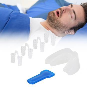 Anti contra los ronquidos Anti molido Clip de la nariz protector Dental bandeja alivia los ronquidos Kit fácil masajeador para dormir